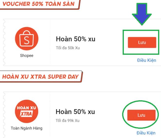 Lưu mã banner Shopee vào ví voucher